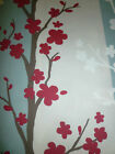 """Raspberry Red Table Runner Blue Funky Retro Floral 100% Cotton  200cms 78"""" x 12"""""""