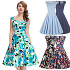 Womens Vintage 60s 1950s Wiggle Swing Evening House Dresses Flared Casual Skater