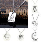 Hot Charm Love Dad Daddy Father Crystal Alloy Pendant Necklace Family Men Choker