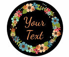 CUSTOM PERSONALIZED ROUND GLASS CUTTING BOARD-FLORAL WREATH 1