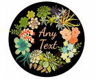 CUSTOM PERSONALIZED ROUND GLASS CUTTING BOARD-FLORAL WREATH
