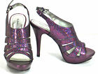 Style&Co Sierra Glitter Plum Purple Strappy Platform Sandals Sizes 8.5 & 9.5M