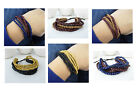 New wooden adjustable multi-layered bracelet bangle wristband 3 Designs Unisex