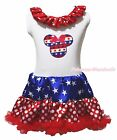Stripe Star Minnie 4th July White One Piece Girls Star Dots Dress Skirt NB-8Year