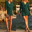 Sexy Women Deep V-Neck Long Sleeve Party Dress Evening Casual Summer Mini Dress
