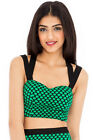 BRALET LIGHTWEIGHT SPOT CROP TOP GREEN AND BLACK MADE IN THE UK WITH UK SELLER