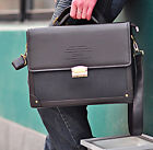 Mens Briefcase Business shoulder bag Tote Laptop Case Coded Lock PU+Leather NEW
