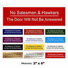 No Salesmen & Hawkers Engraved Gate Door Sign + FREE CHOICE OF COLOURS