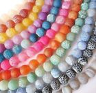 "Frosted crackle agate 4mm -10mm round gemstone beads. Full strand ~15"" SP235"