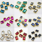 DIY 10Pcs Crystal Glass Charm Rectangle Necklace Pendant Jewelry Making