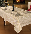 XMAS FESTIVE CREAM & GOLD TABLECLOTHS OR ACCESSORIES RUNNERS NAPKINS PLACEMAT