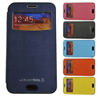 Galaxy Note 2 II Window View Leather Case Flip Cover Back Bumper Wallet Diary