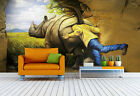 3D 4D Rhinoceros Hand Painted Wall Paper Wall Murals Print Decal Floor Wallpaper