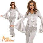 Dancing Queen Costume Silver Abba 1970s Ladies Fancy Dress Outfit New