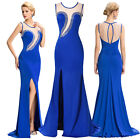 Womens Sexy Slit Blue Evening Long Pageant Dress Formal Party Cocktail Dresses