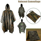 Military Waterproof Poncho Hooded Rain Coat Hiking Festival Ristop Camo Mens