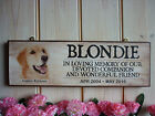 MADE TO ORDER GOLDEN RETRIEVER MEMORIAL SIGN PET IN MEMORY PLAQUE OWN NAME DATES
