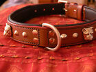 NEW american bull-dog leather collar with 3Dbrass head in black or brown