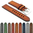 StrapsCo Vintage Faded Mens Leather Band 4mm Thick Watch Strap with Pre-V Buckle
