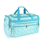 "Personalized Greek Key Turquoise White 19"" Duffle Sports Gym Tote Bag Monogram"