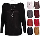 Womens Long Sleeve Ladies Batwing Slash Neck Knitted Necklace Sweater Jumper Top
