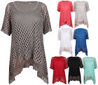 Womens New Short Sleeve Ladies Stretch Mesh Net Lace Uneven Hem T-Shirt Vest Top