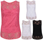 Womens New Lined Floral Lace Ladies Stretch Bodice Sleeveless T-Shirt Vest Top