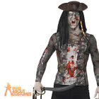 Adult Zombie Pirate T-Shirt Mens Halloween Horror Fancy Dress Outfit New