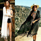 OZ Lady Sexy Cardigan Kimono Long Lace Tassels Blouse Tops Shawl Beachwear BD