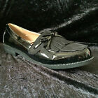 NEW- WOMENS - LOAFERS- SHOES- BLACK PATENT CEDAR - SIZES 3 - 8