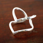 925 Sterling Silver V Chevron Double Bands Layers Adjustable Ring size 7 A3392