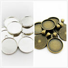 Antique Bronze/Silver Charm Pendants Cameo Cabochon Base Setting for 20MM