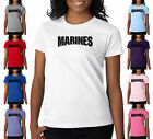 Marines Black Lettering USMC Military Semper Fi Ladies T-Shirt S-2XL