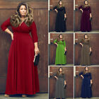 Plus Size Sexy Womens V Neck 3/4 Sleeve Evening Party Long Maxi Dresses 7 Colors