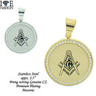 STAINLESS STEEL MASONIC PENDANT W/ ROLO BOX CHAIN STP #MASONIC ROUND BRAND NEW