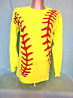 Neon Yellow Red Softball Graphics Design Long Sleeve T-Shirt Gildan Adult Unisex
