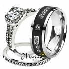 His & Her 3pc Stainless Steel 1.80 Ct Cz Bridal Set & Mens Titanium Wedding Band