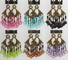 New Pink Blue Black Green Brown Purple Plastic Bead Vintage Style Bronze Earring