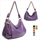WOMEN'S HANDBAG TASSELS TOP ZIP HOBO SHOULDER BAG PURSES GENUINE COWHIDE LEATHER