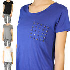 IUILE Juniors Solid Scoop Neck Short Sleeve T-Shirts Studded Pocket Knitted Top