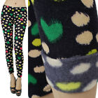 IUILE Womens Warm Fleece Knitted Print Leggings Skinny Stretch Winter