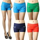 IUILE Womens Candy Color Double Front Zipper Vintage Stretch Waist Shorts Pants