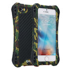Military Camo Waterproof Metal Carbon Fiber Gorilla Glass Case Cover For iPhone