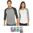 Next Level Unisex 3/4 Sleeve Raglan Baseball Tri Blend Plain T- Shirt 6051 S-3XL