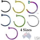 Nose Hoop Ring Stud Body Jewellery Surgical Steel - Choose Size & Colour AUSSIE*
