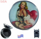 Ear TUNNEL Plug BLACK Screw Acrylic Hollow Stash SEX 1950s PINUP GIRL 5mm- 25mm*