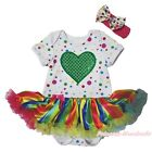 Valentine Heart Polka Dot Bodysuit Rainbow Striped Girl Baby Dress Outfit NB-18M