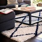 Anji Mountain Silky Shag Rug  Ivory/Navy diamond NEW sizes 5x8 8x10 9x12 bamboo