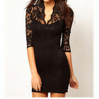Ladies Stretchy Floral Slim Fitted Sleeves Clubwear Bridesmaid Party Lace Dress