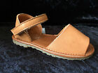 NEW-KIDS- GIRLS -SPANISH SANDALS - MENORCAN- TAN  -FAUX LEATHER- SIZES 4- 2